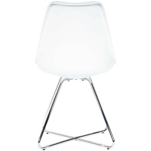 Pull this stylish chair, up to your modern breakfast table. This great accent piece has a faux leather seat on a molded plastic frame, that brings comfort to any seating arrangement, perched atop steel legs in a polished finish.