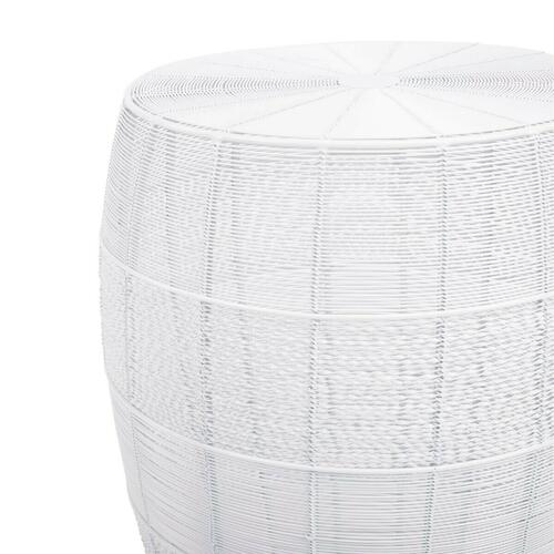 The open weave of Renwick Iron Cage Bunching Table brings a new sense of dimension to your room. Its compact, round shape wrapped in white iron wire adds a modern twist to this convenient storage spot.