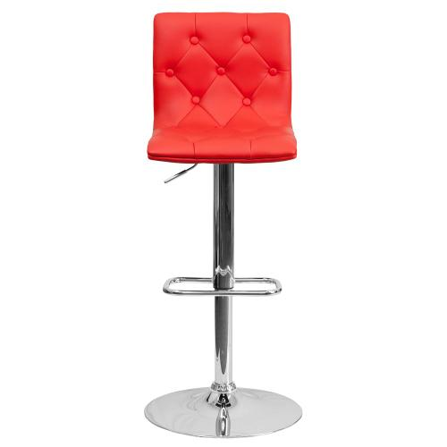 Contemporary Tufted Red Vinyl Adjustable Height Barstool with Chrome Base