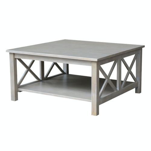 John Thomas Furniture - Hampton Square Coffee Table in Taupe Gray
