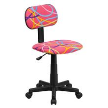 Multi-Colored Swirl Printed Pink Swivel Task Chair