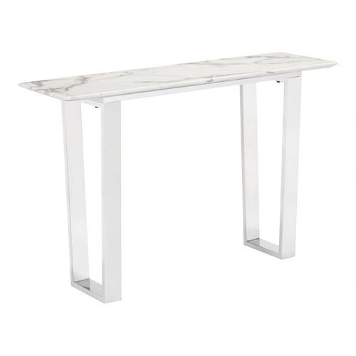 Atlas Console Table Stone & Brushed Ss