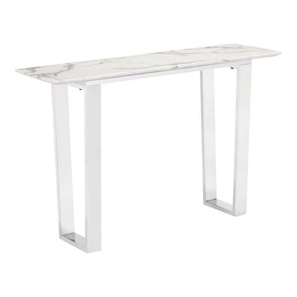 Atlas Console Table White & Silver