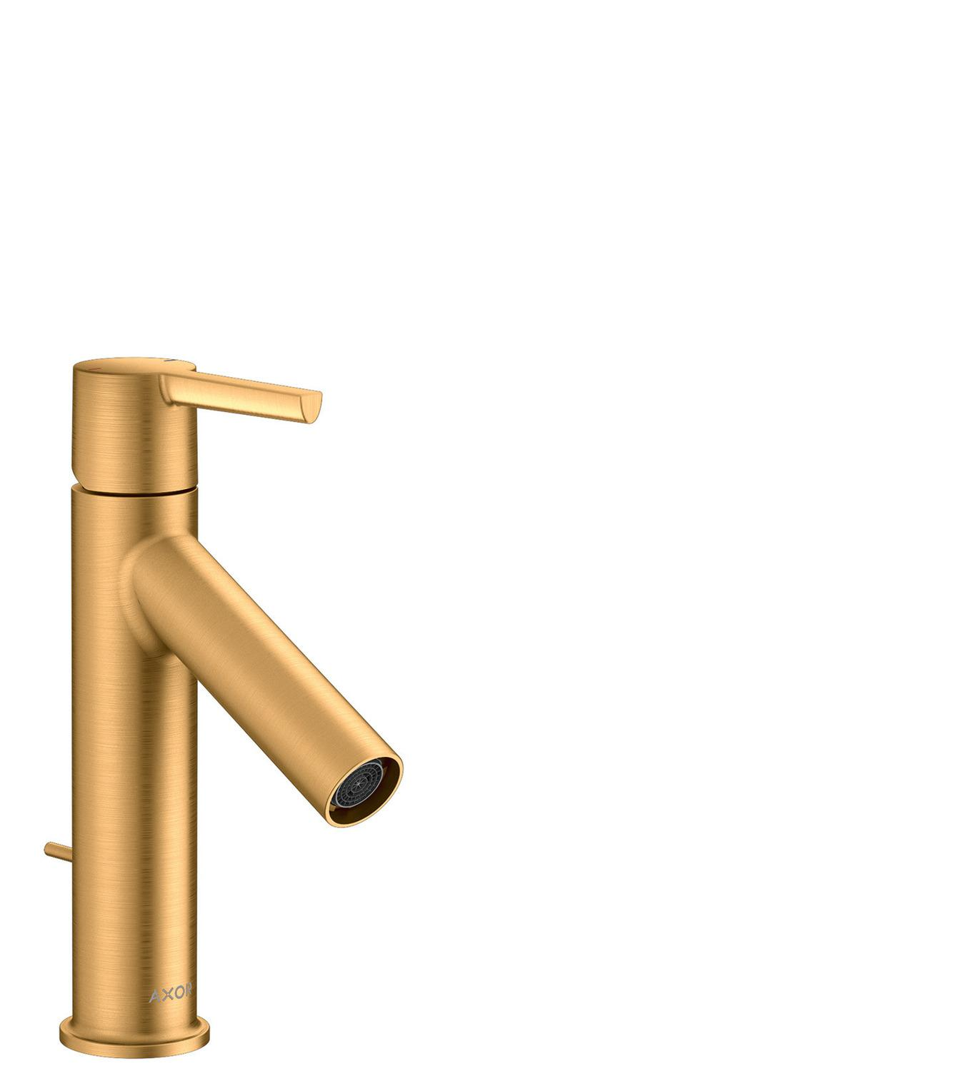 Brushed Gold Optic Single lever basin mixer 100 with lever handle and pop-up waste set