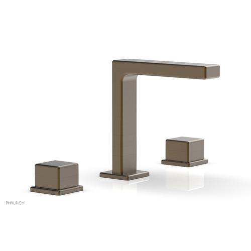 """MIX Widespread Faucet - Cube Handles 6-3/4"""" Height 290-04 - Old English Brass"""