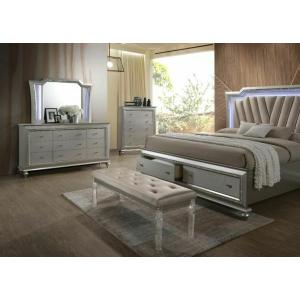 ACME Kaitlyn Bench, PU & Clear Acrylic - 27237