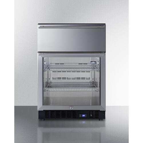 """View Product - 24"""" Wide Built-in Commercial Beverage Refrigerator With Top Drawer"""