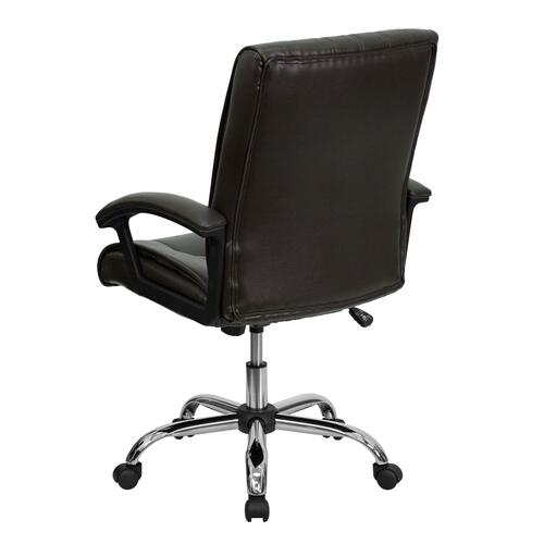 Mid-Back Espresso Brown Leather Swivel Manager's Chair with Arms