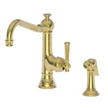 Uncoated Polished Brass - Living Single Handle Kitchen Faucet with Side Spray
