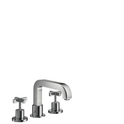 Chrome 3-hole rim mounted bath mixer with cross handles