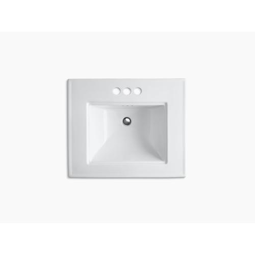 "Almond 24"" Pedestal Bathroom Sink With 4"" Centerset Faucet Holes"
