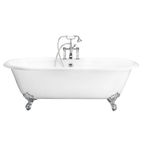 "Duet 67"" Cast Iron Double Roll Top Tub Kit - Polished Chrome Accessories"