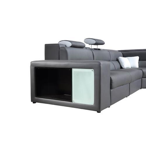 VIG Furniture - Divani Casa Polaris - Contemporary Grey Leather U Shaped Sectional Sofa with Lights