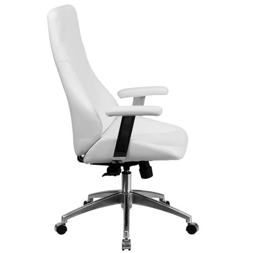 High Back White Leather Executive Swivel Chair with Arms