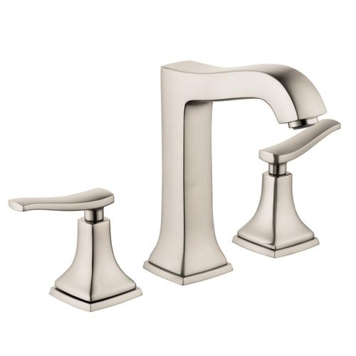 Brushed Nickel Widespread Faucet 160 with Lever Handles and Pop-Up Drain, 1.2 GPM
