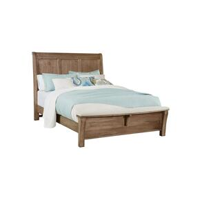 Sleigh Headboard with upholstered bench footboard