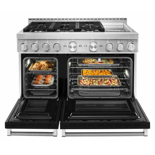 KitchenAid - KitchenAid® 48'' Smart Commercial-Style Gas Range with Griddle - Imperial Black