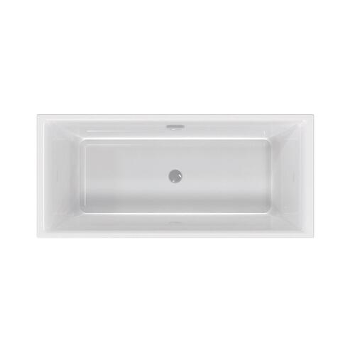 "Thayer 67"" Acrylic Tub with Integral Drain and Overflow - White Powder Coat Drain and Overflow"
