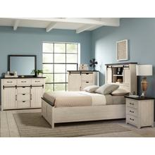 Madison County 4pc King Barn Door Bedroom: Bed, Dresser, Mirror, Nightstand