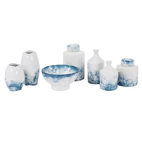 Howard Elliott - Blue and White Porcelain Bottle Vase, Large