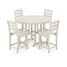 View Product - Lakeside 5-Piece Round Counter Side Chair Set in Sand