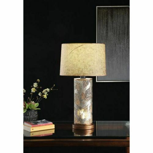 ACME Nordin Table Lamp - 40359 - Glam - Light, Metal, Shade (Paper) - Coffee