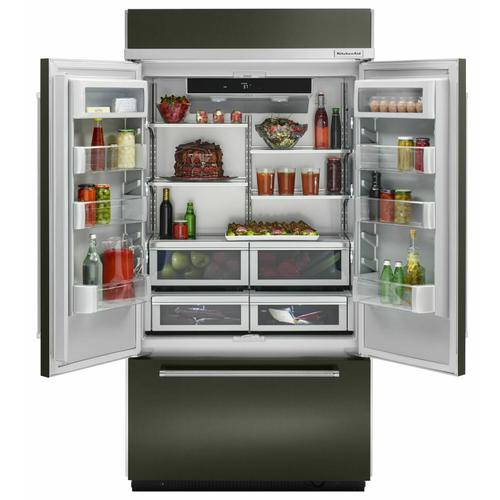 """KitchenAid - 20.8 Cu. Ft. 36"""" Width Built In Stainless Steel French Door Refrigerator with Platinum Interior Design - Black Stainless"""