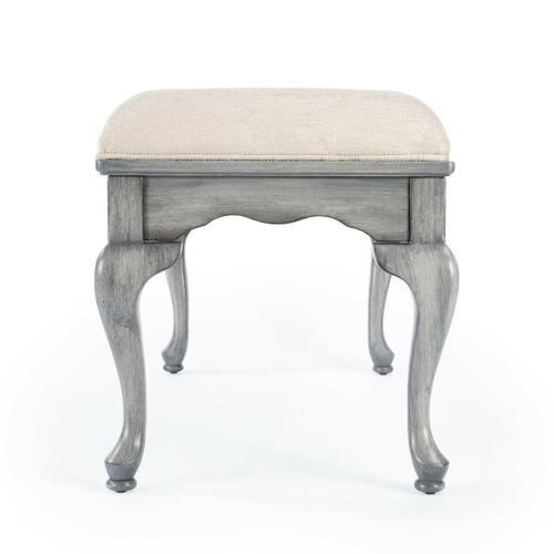 Butler Specialty Company - This delightful Queen Anne styled bench is a wonderful addition to any bedroom, entryway or sitting area. It is crafted from selected hardwood solids and wood products. Features a button-tufted chenille upholstered cushion and Powder Grey finish.