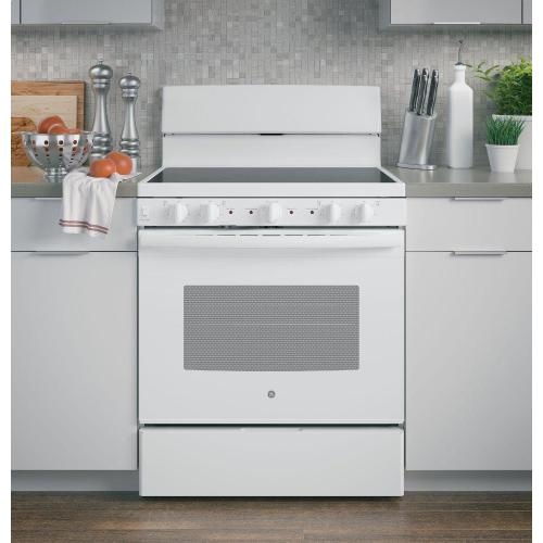 """GE 30"""" 5.0CF White Free-standing Electric Radiant Smooth Cooktop Range"""