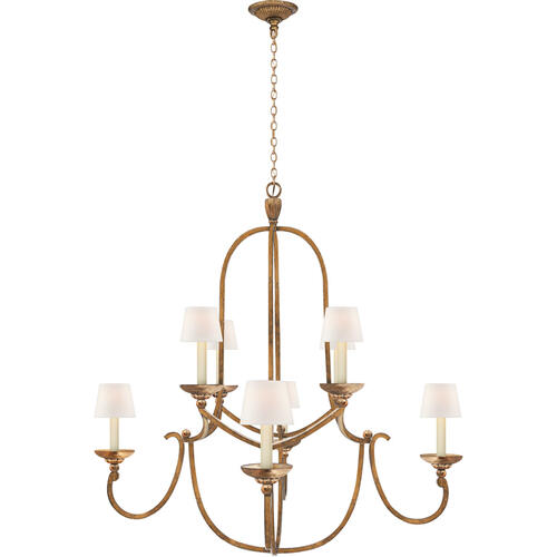 Visual Comfort - Chapman & Myers Flemish 8 Light 38 inch Gilded Iron Chandelier Ceiling Light in Linen, Medium