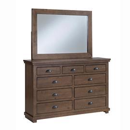 Dresser \u0026 Mirror - Auburn Cherry Finish