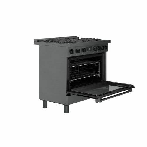 800 Series Dual Fuel Freestanding Range 36'' Black Stainless Steel HDS8645U