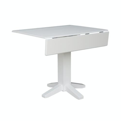 Square Dropleaf Pedestal Table in Pure White