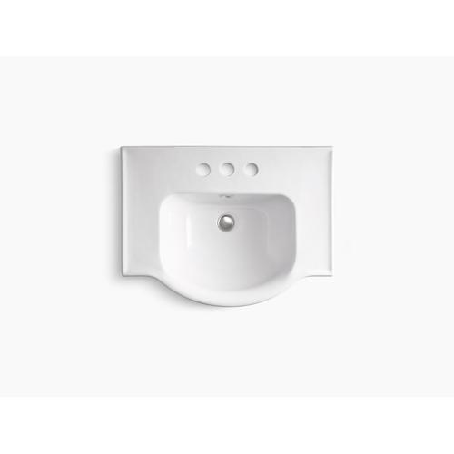 "White 24"" Pedestal Bathroom Sink With 4"" Centerset Faucet Holes"