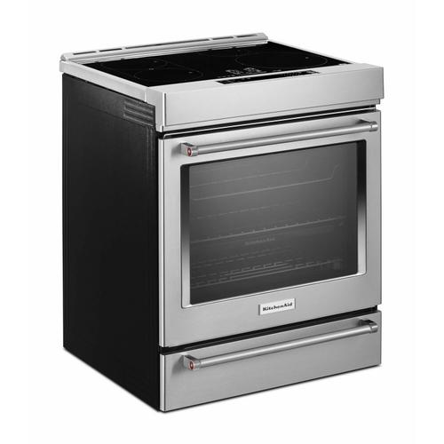 KitchenAid - 30-Inch 4-Element Induction Slide-In Convection Range with Baking Drawer - Stainless Steel
