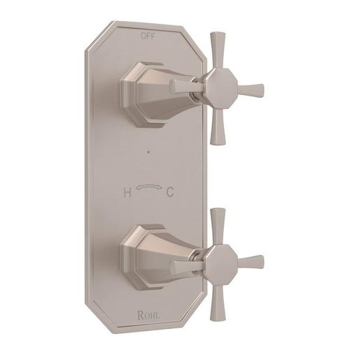 "Satin Nickel Perrin & Rowe Deco 1/2"" Thermostatic/Diverter Control Trim with Deco Cross Handle"