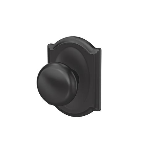 Custom Plymouth Knob with Camelot Trim Hall-Closet and Bed-Bath Lock - Matte Black