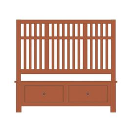 Queen Craftsman Slat Bed with Footboard Storage