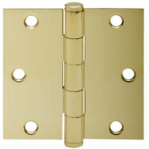 "Door Hardware  3.5"" Square Hinge - Bright Brass Product Image"