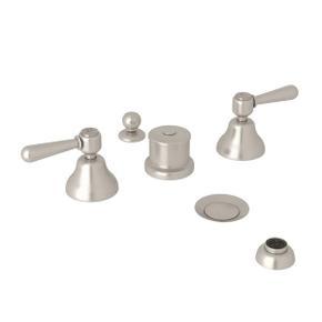 Verona Five Hole Bidet Faucet - Satin Nickel with Metal Lever Handle