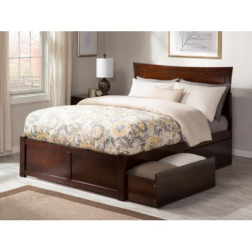 Metro Queen Flat Panel Foot Board with 2 Urban Bed Drawers Walnut
