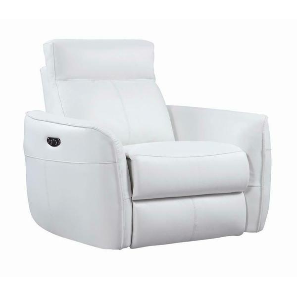 Cecelia Casual White Power Glider Recliner With Power Headrest