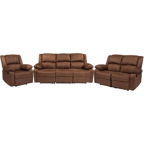 Chocolate Brown Microfiber Reclining Sofa Set