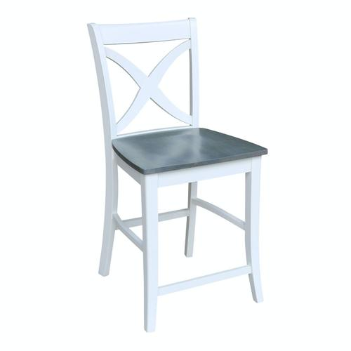 Salerno Stool in Heather Gray & White