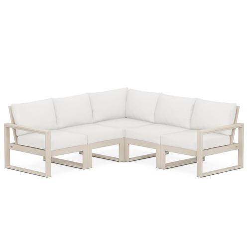 Polywood Furnishings - EDGE 5-Piece Modular Deep Seating Set in Sand / Natural Linen