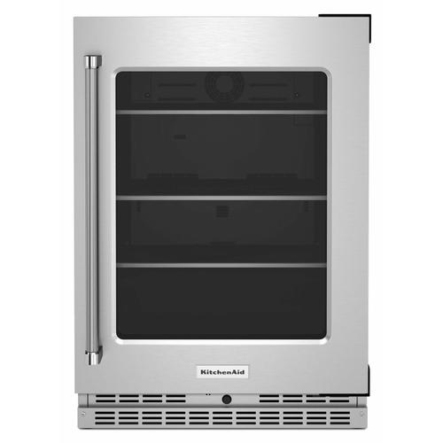 """KitchenAid - 24"""" Undercounter Refrigerator with Glass Door and Shelves with Metallic Accents - Stainless Steel"""