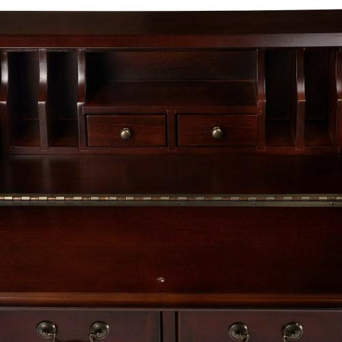 Butler Specialty Company - Selected solid woods, wood products and choice veneers. Cherry veneer top and sides. Cherry veneer drop front writing surface and drawer fronts with cherry veneer cross grain borders. Inset border inlay of maple veneer on drop front. Five drawers and two smaller drawers behind drop front all with antique brass finished hardware.