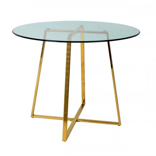 VIG Furniture - Modrest Swain - Modern Clear Glass & Gold Round Dining Table