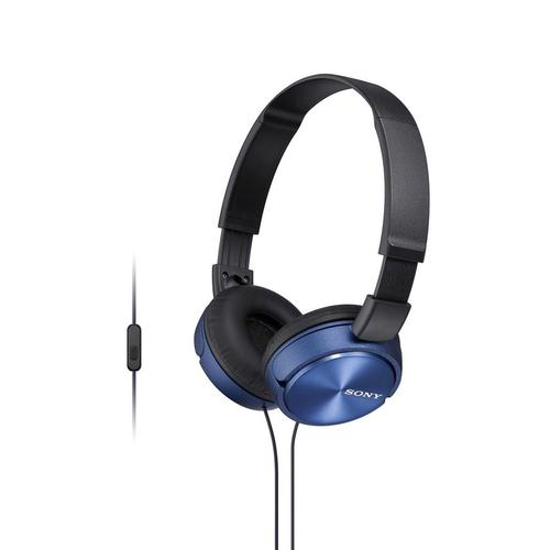 Sony - Wired On-ear Folding Headphones with Microphone - Blue