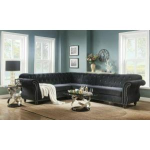 ACME Regan Sectional Sofa - 52750 - Black Velvet